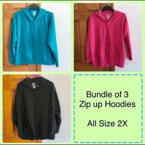 Bundle Of 3 Zip Up Hoodies Size 2X